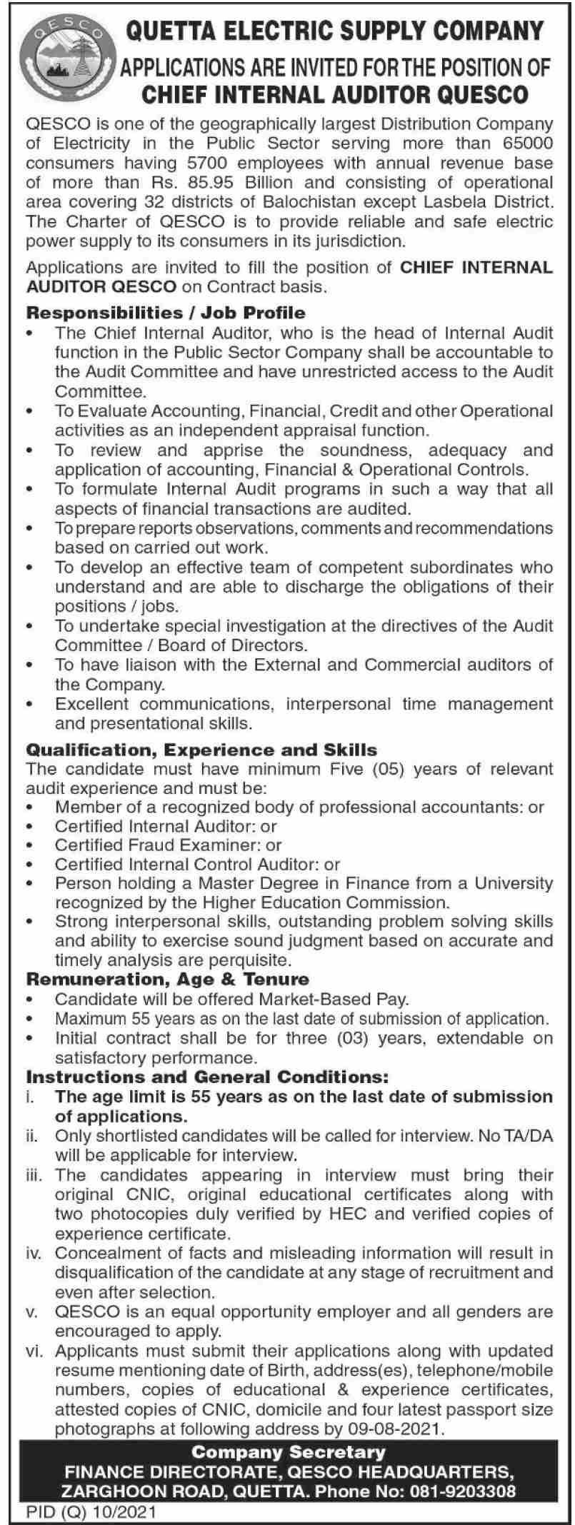 QESCO Chief Internal Auditor Jobs 2021