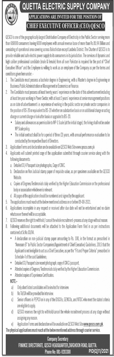 QESCO Chief Executive Officer Jobs 2021