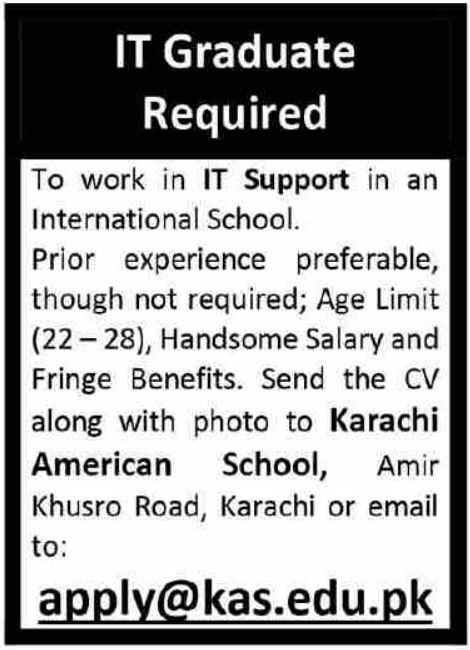 IT Graduate Jobs in Karachi 2021