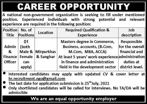 National NGO Sanghar And Mirpur & Sanghar Jobs 2021