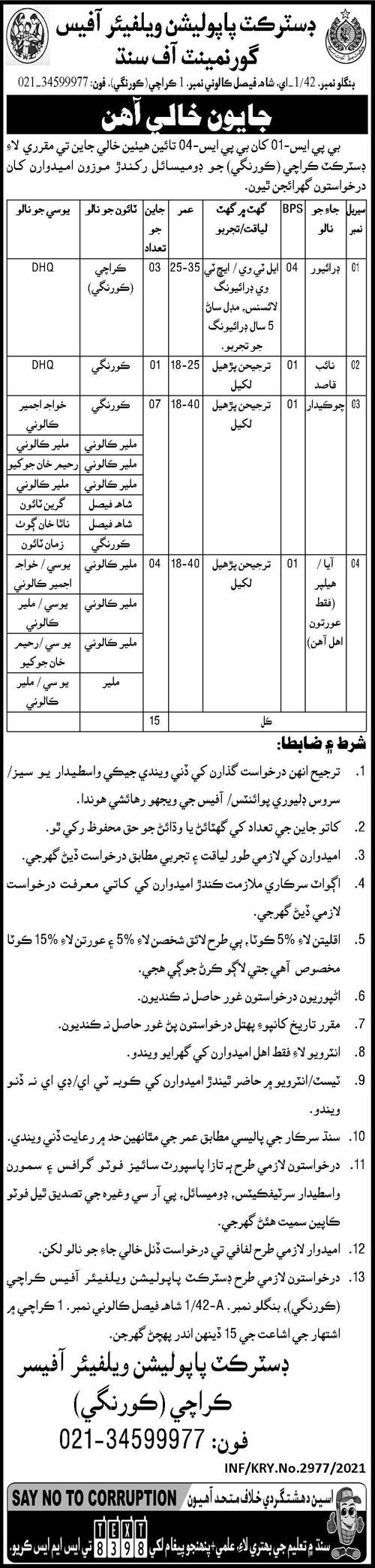 District Population Office Karachi Jobs 2021