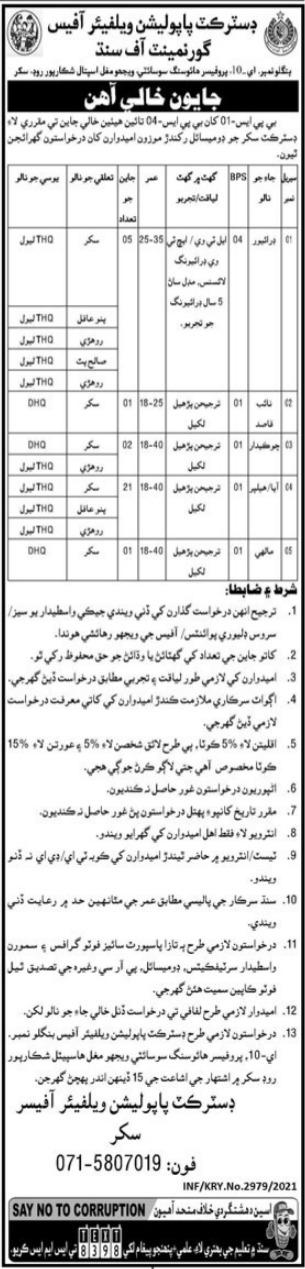 District Population Welfare Office Sukkur Jobs 2021