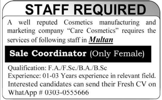 Cosmetics Manufacturing & Marketing Company Job 2021