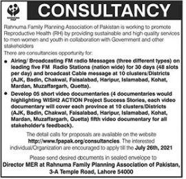 Rahnuma Family Planning Association Jobs 2021