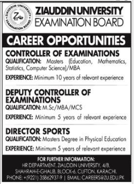 Ziauddin University Jobs 2021 In Karachi