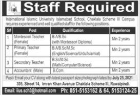 International Islamic University Islamabad School Jobs 2021