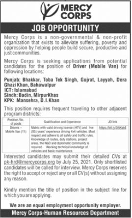 Mercy Corps NGO Jobs 2021 For Driving Staff