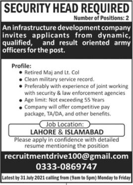 Security Head Jobs 2021 In Lahore & Islamabad