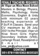 Viqar un Nisa Noon School Jobs 2021 For Teaching Staff