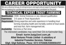 Technical Expert Trout Farming Job 2021 In Gilgit Baltistan