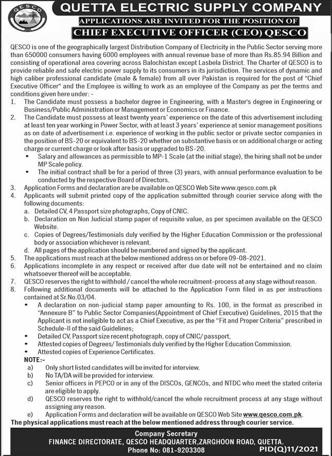 Chief Executive Officer Jobs in QESCO