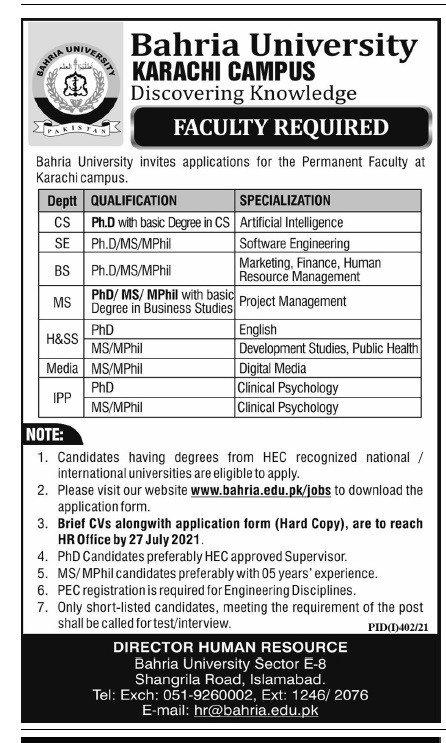 Bahria University Karachi Campus Faculty Jobs 2021