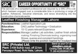 SRC Private Limited Jobs 2021 in Lahore
