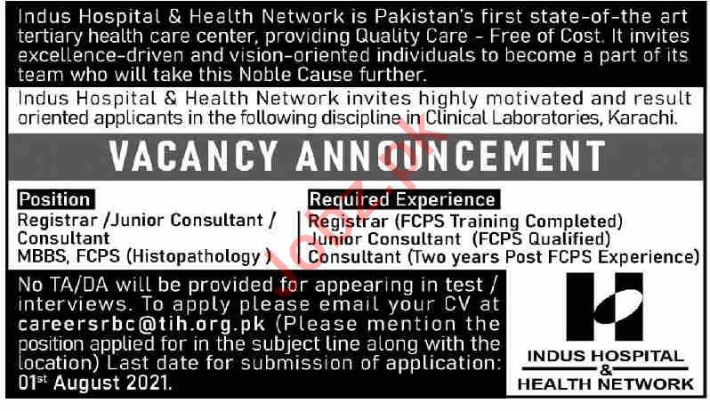 Indus Hospital & Health Network Karachi Jobs 2021
