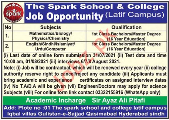 The Spark School & College Latif Campus Jobs 2021