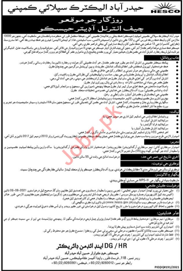 Auditor Jobs 2021 in Hyderabad Electric Supply Company HESCO