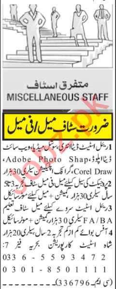Real Estate Manager& Sales Coordinator Jobs 2021 Islamabad