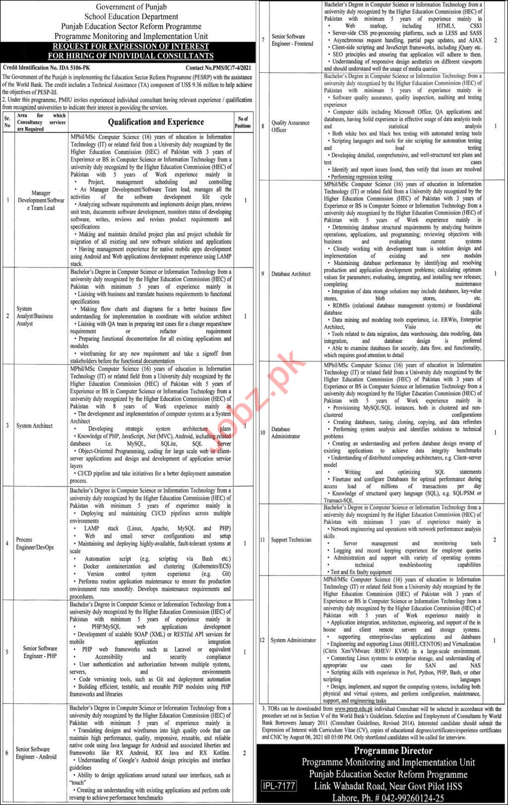 Punjab Education Sector Reform Programme Lahore Jobs 2021