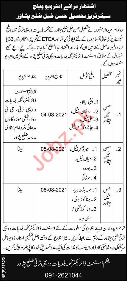 Local Government & Rural Development LG&RD Peshawar Jobs