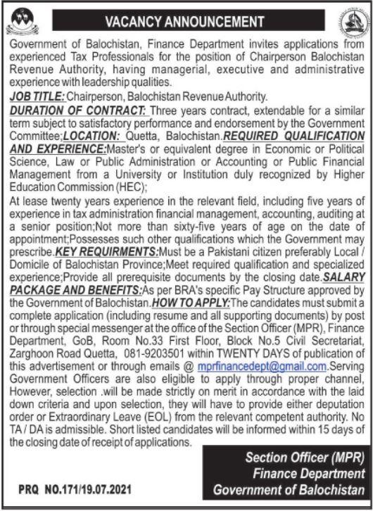 Finance Department Chairperson Balochistan Revenue