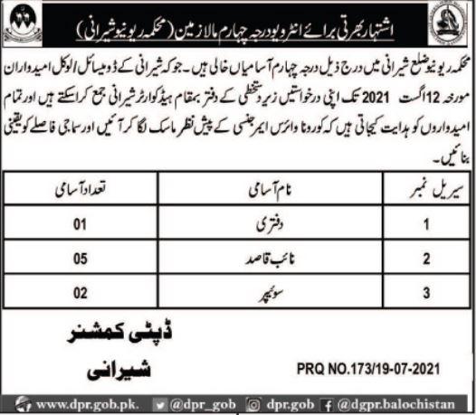 Revenue Department Sherani Class IV Staff Jobs 2021
