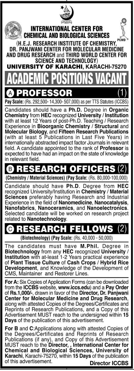 International Center for Chemical & Biological Science Jobs