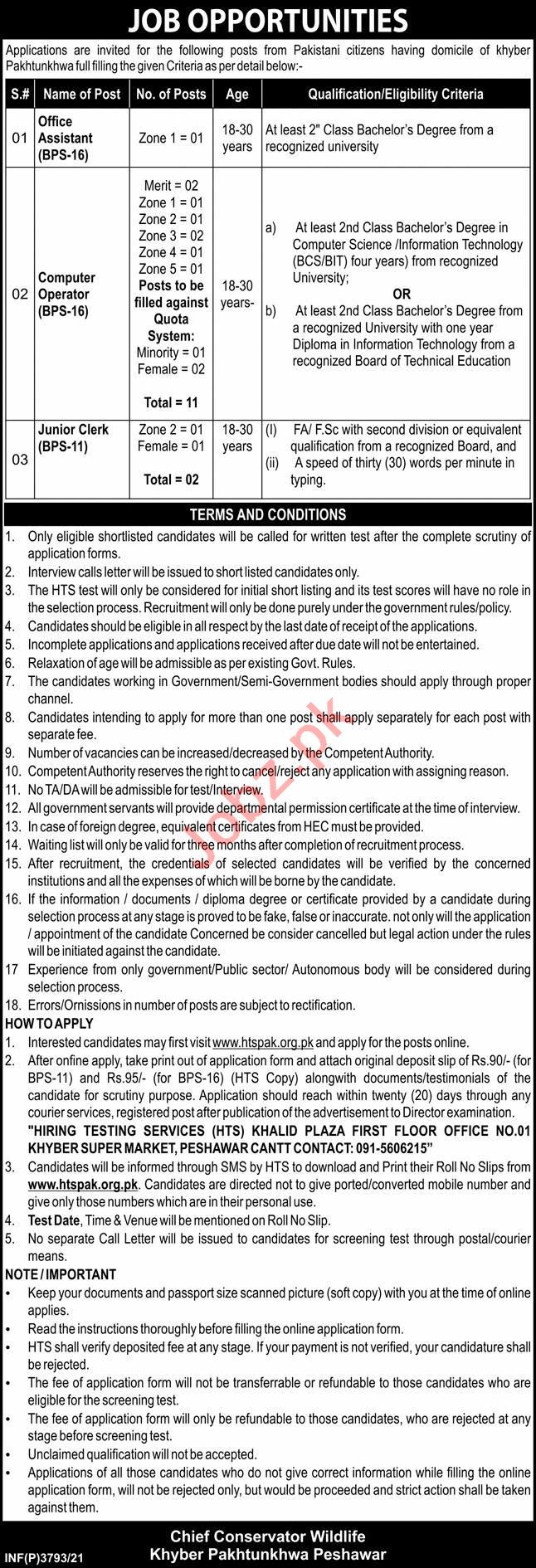 Chief Conservator Wildlife Peshawar Jobs 2021 for Clerks