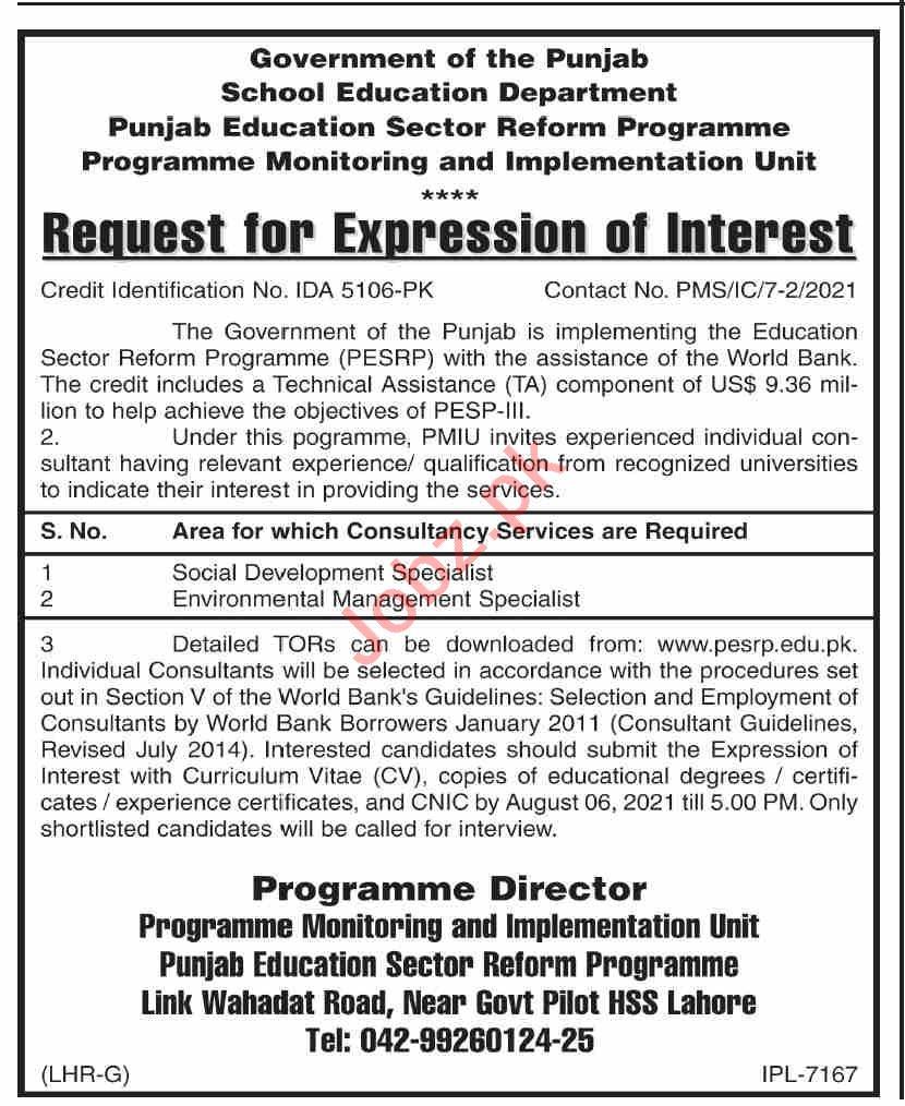 Punjab Education Sector Reform Programme Jobs 2021