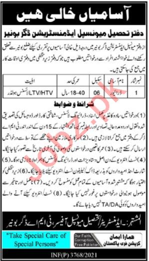 Tehsil Municipal Administration TMA Daggar Buner Jobs 2021