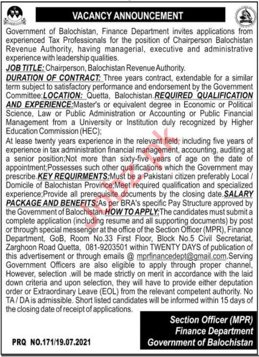 Finance Department Balochistan Revenue Authority Jobs 2021