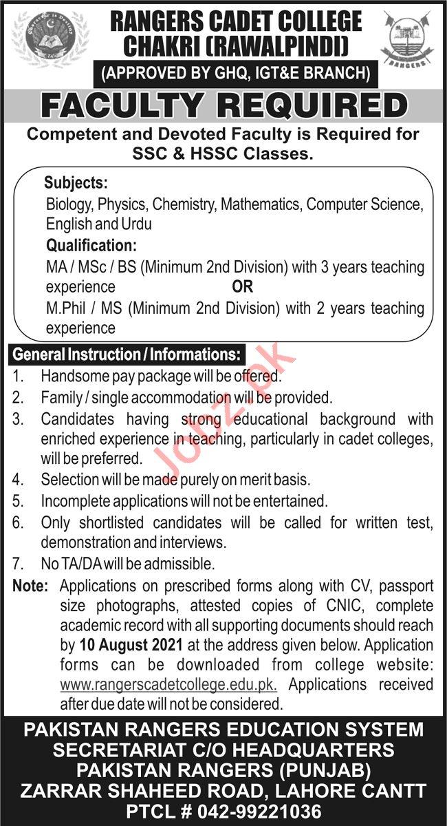 Lecturers Jobs 2021 Rangers Cadet College Chakri Rawalpindi