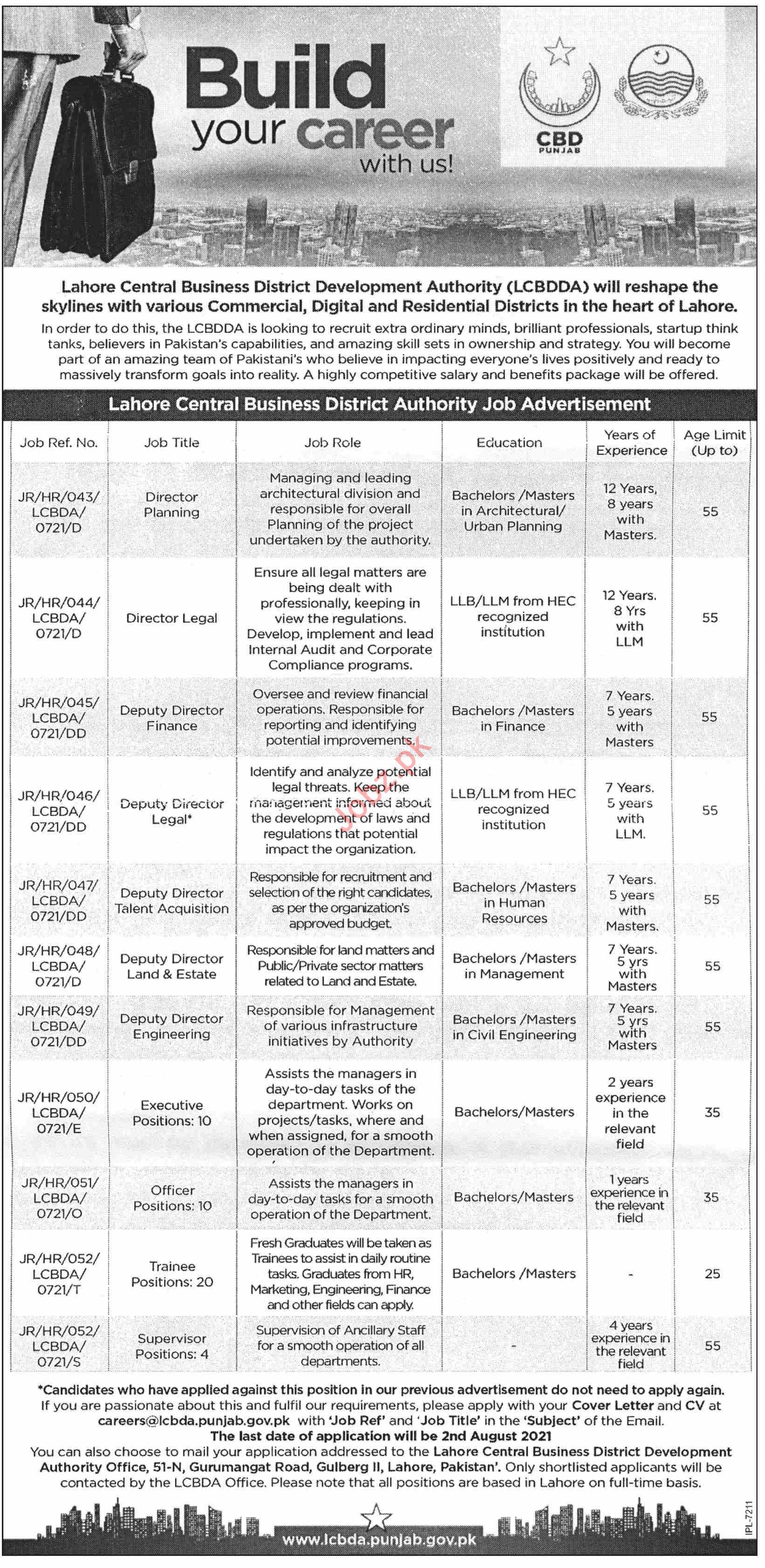 Lahore Central Business District Development LCBDDA Jobs