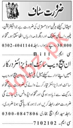 Web Developer & Electrician Jobs 2021 in Lahore