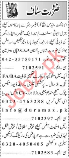 Store Keeper & Front Desk Officer Jobs 2021 in Lahore