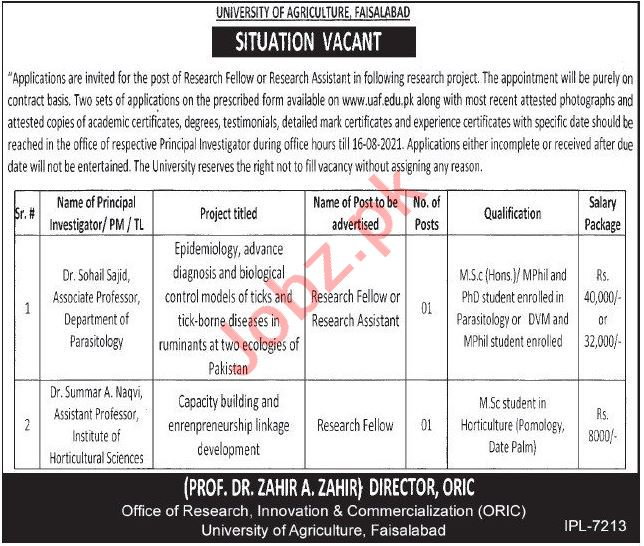 University of Agriculture Faisalabad Jobs 2021 for Research