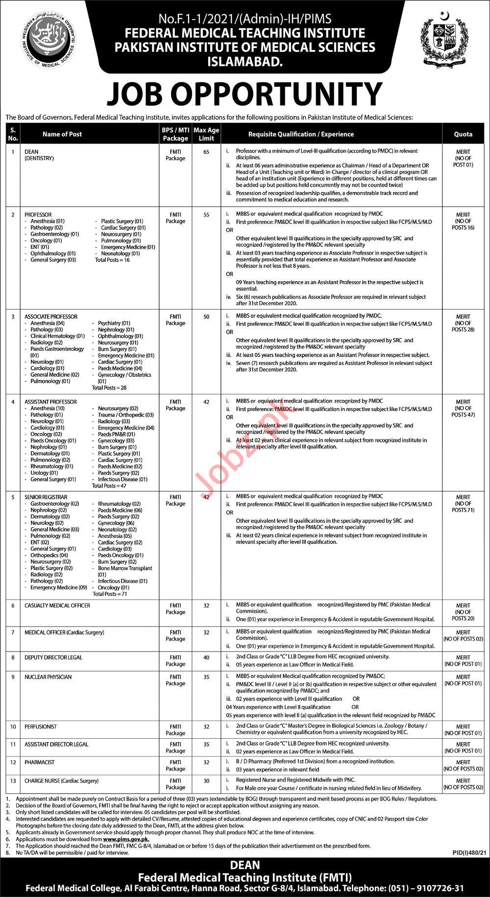 Federal Medical Teaching Institute FMTI Islamabad Jobs 2021