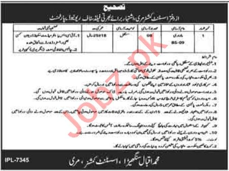 Revenue Department Murree Jobs 2021 for Patwari