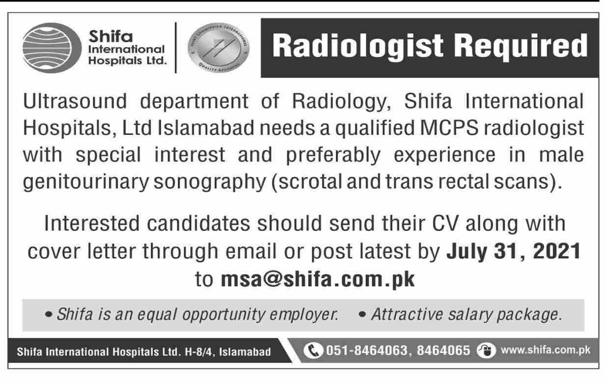 Shifa International Hospital Ltd Job 2021 For Radiologist