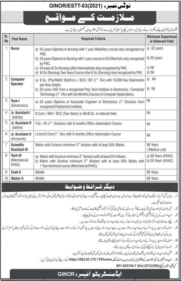 Gilgit Institute of Nuclear Medicine Oncology GINOR Job 2021