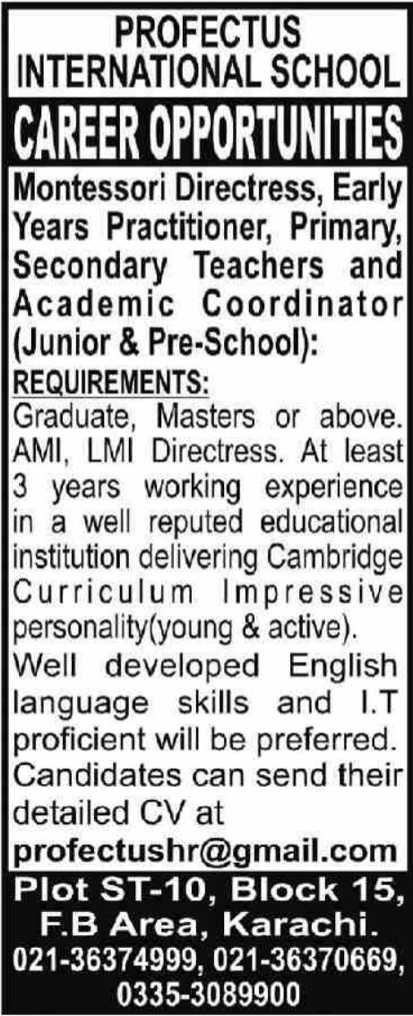 Profectus International School Jobs 2021 In Karachi
