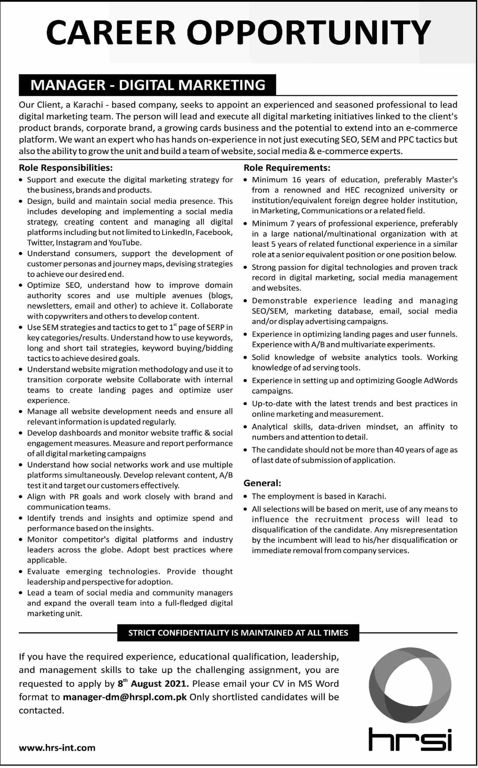 Manager Digital Marketing Job 2021 In Karachi