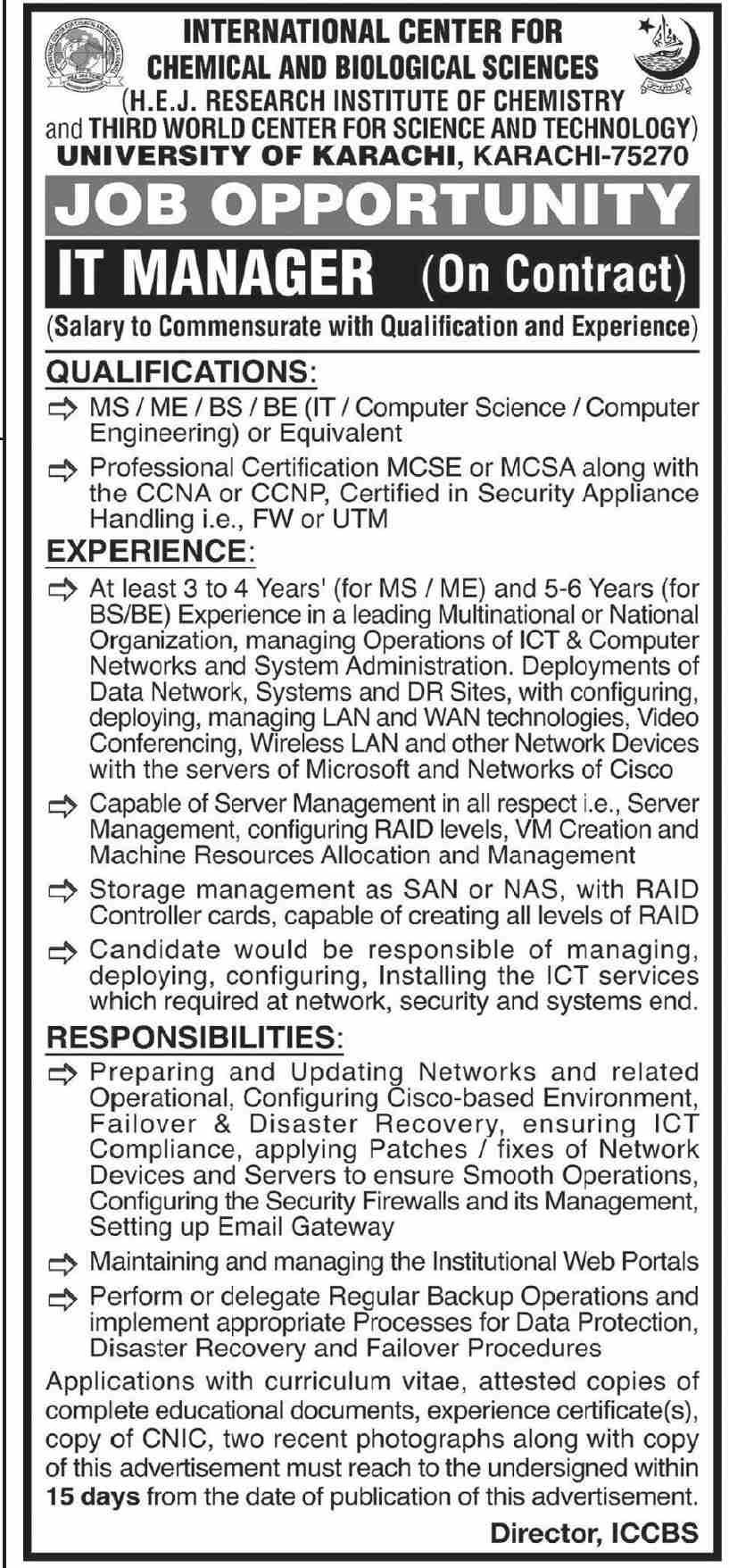 University of Karachi Job 2021 For IT Manager