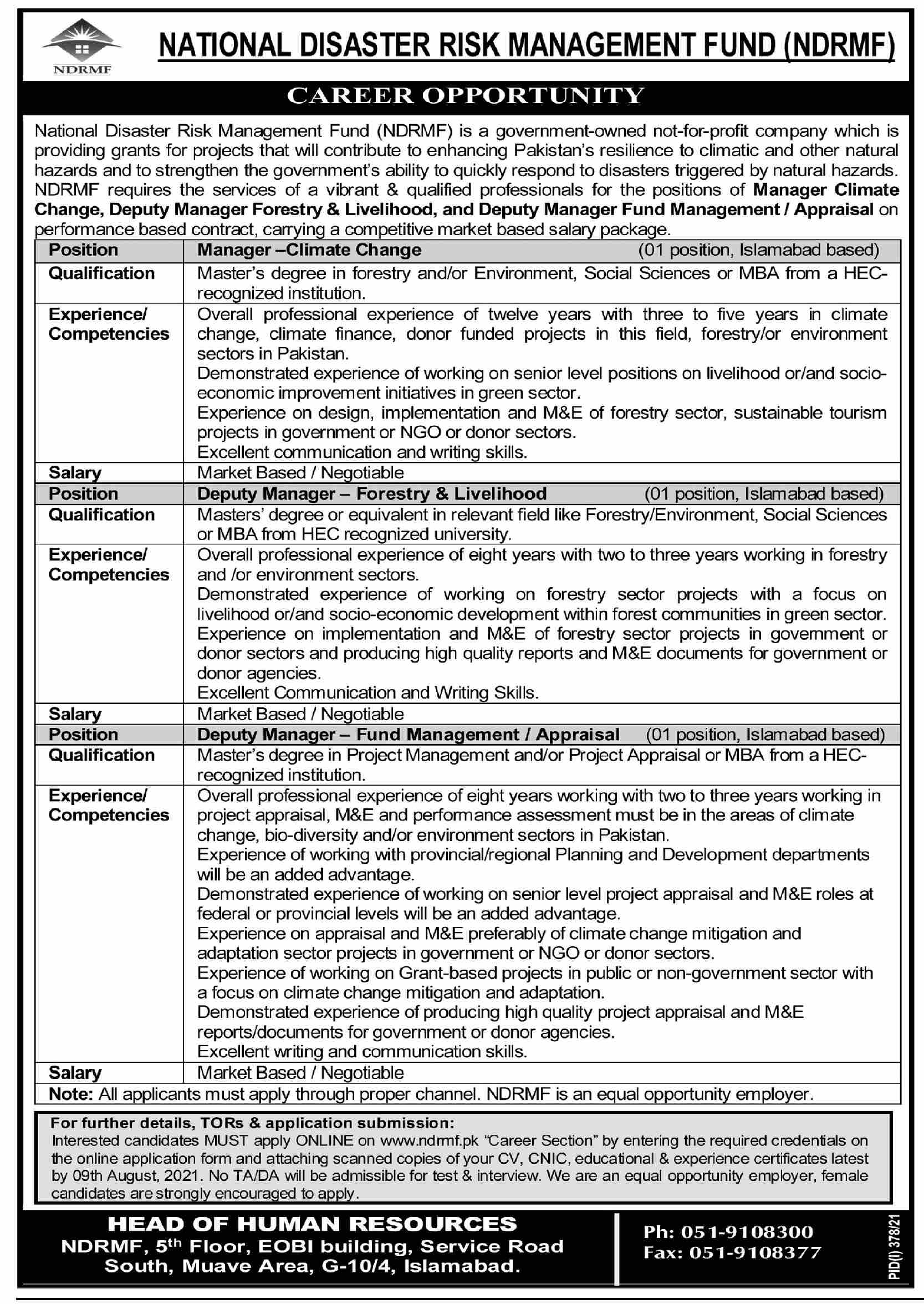 National Disaster Risk Management Fund NDRMF Jobs 2021