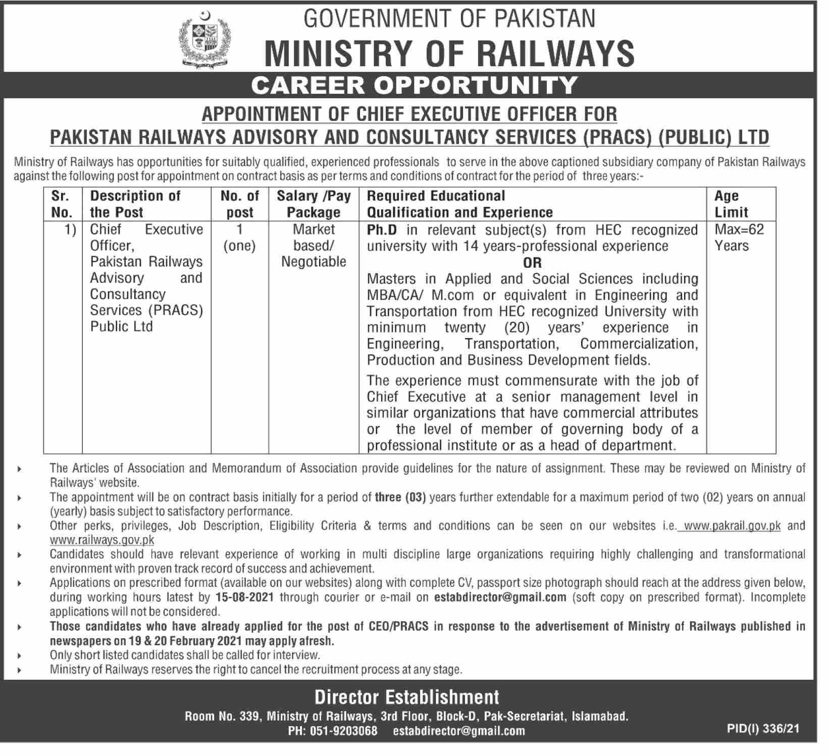 Ministry of Railways Job 2021 For Chief Executive Officer