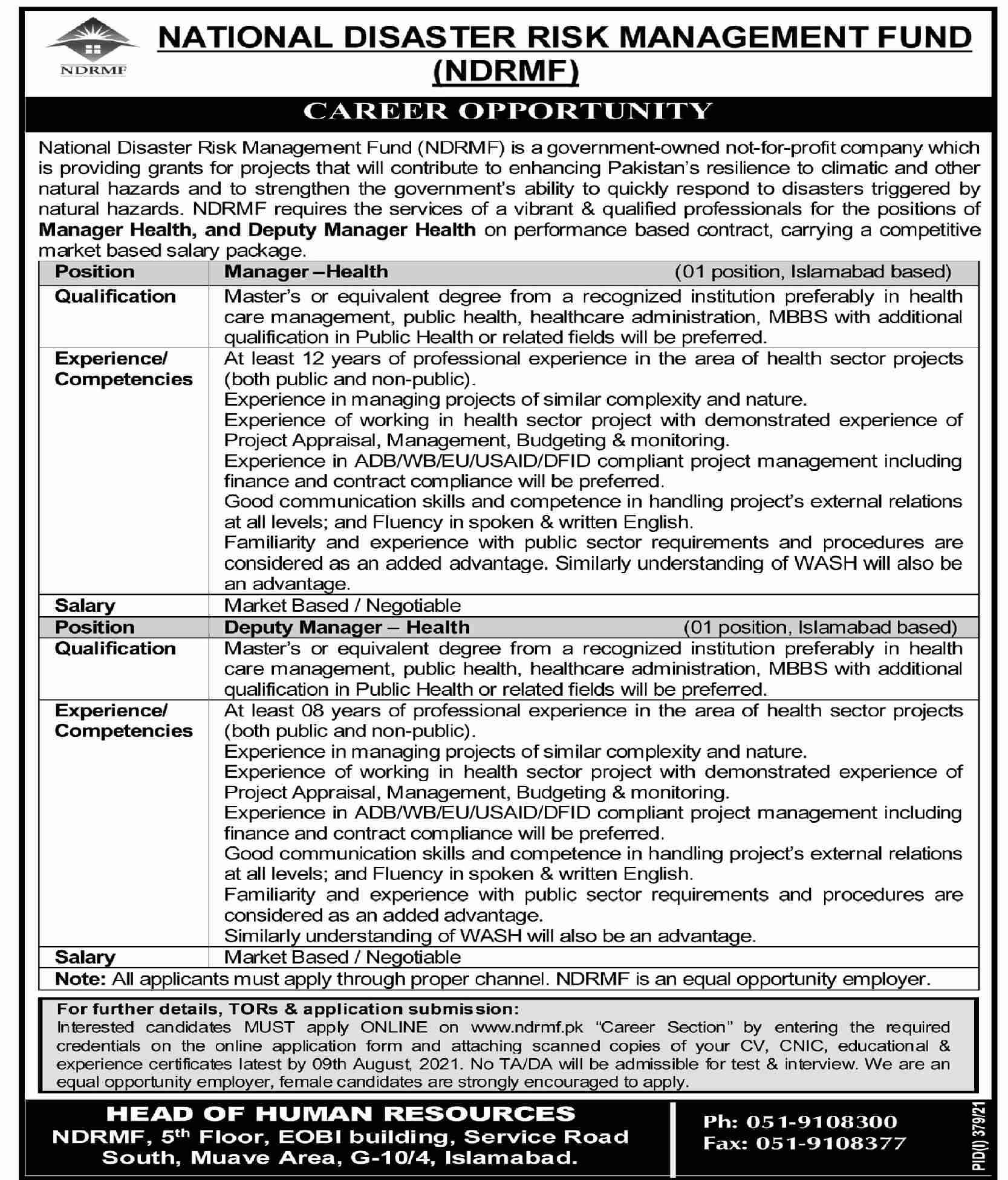 NDRMF Jobs 2021 For Medical Staff In Islamabad