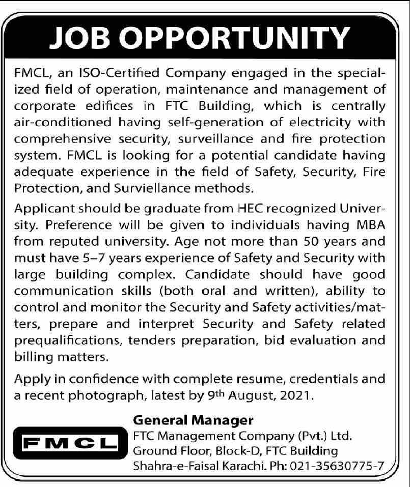 FTC Management Company Pvt Limited Job 2021 In Karachi