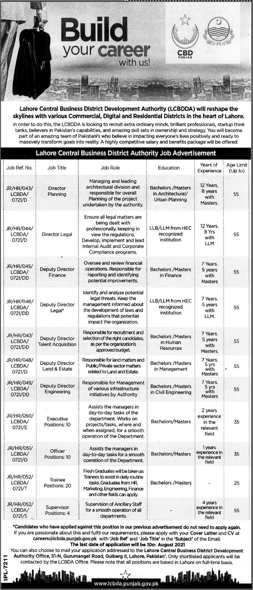 Lahore Central Business District Development Authority Jobs