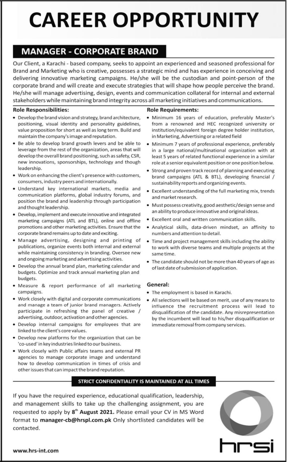 Manager Corporate Brand Job 2021 In Karachi