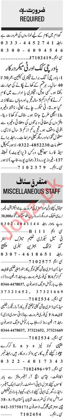 Jang Sunday Classified Ads 25 July 2021 for General Staff