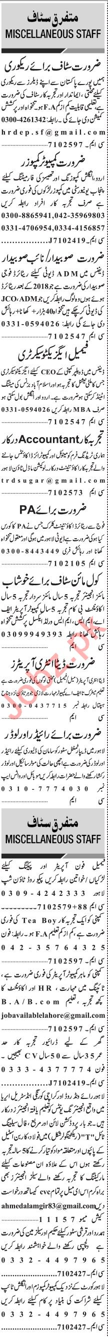 Jang Sunday Classified Ads 25 July 2021 for Office Staff